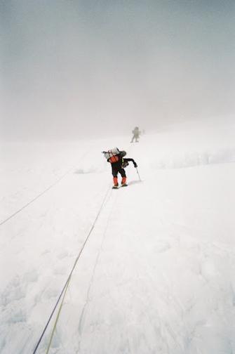 Climbing the headwall