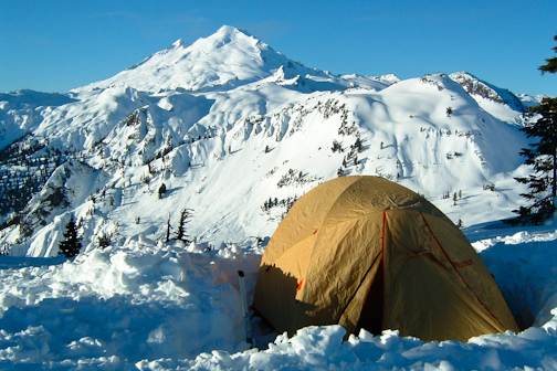 Winter camp on Kulshan Ridge in the shadow of Mt. Baker