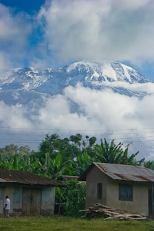 Kilimanjaro dominates the landscape. At 19,340 feet it is the highest mountain in Africa.
