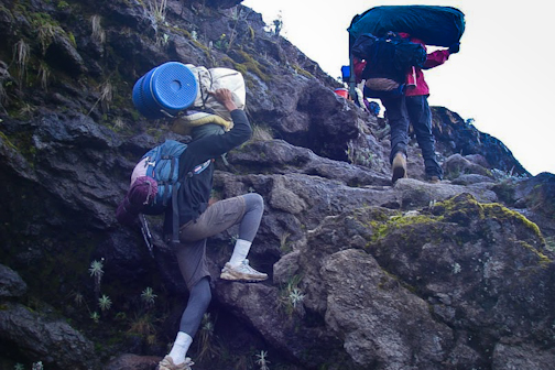 Hauling gear: The porters were possessed of almost superhuman strength and stamina.