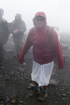 "Torrential downpours led Ang Dorjee to improvise a plastic rainskirt. Dorjee featured prominently in Jon Krakauer's ""Into Thin Air"" - he is credited with saving several lives on that ill-fated climb of Everest."