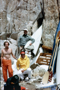 Reg Lake, Royal Robbins, and Doug Tompkins at the pass on Mount Whitney, elevation 13,777 feet before the first Descent of the Kern River.  A remarkable 22.5 mile carry to the  put-in at 8,000 ft.