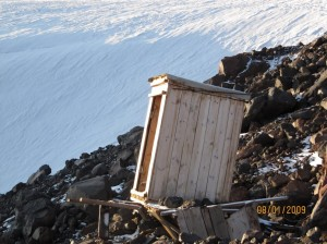 The lone outhouse for high camp. Structurally suspect.