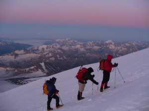 Dawn, the day of our summit bid. I am at the rear, Edward Olebe is in the middle, Richard Birkill at the front.