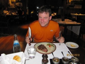 Steeling himself for the hard days ahead, Dave tucks into some of the famous Argentine Beef.