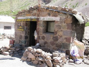 First camp on the trek in: Pampa de Lenas