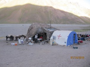 Casa de Piedras, the second camp on the way to Aconcagua
