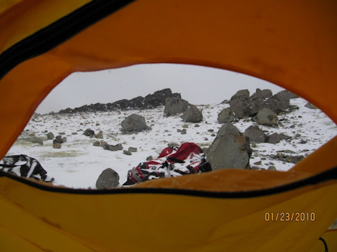 The view out the tent window at High Camp