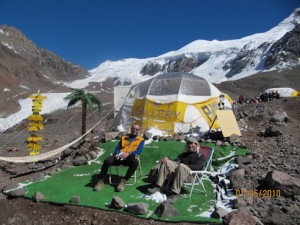 "The ""highest altitude art gallery in the world"", set up in a dome tent at Plaza de Mulas"