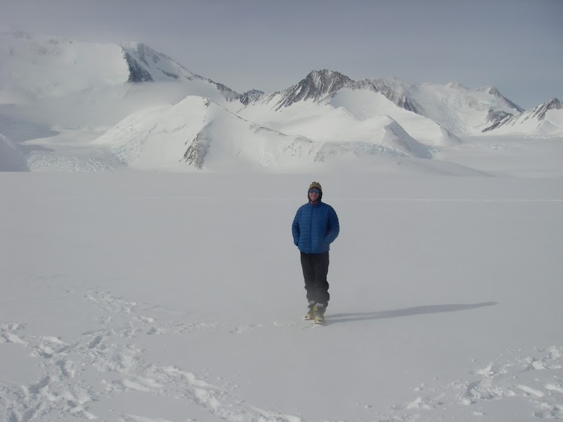 Dave contemplating the icy vastness beneath Vinson Massif