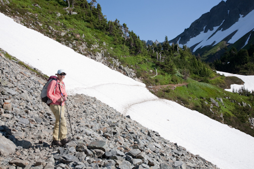 Several snow fields must be crossed to reach Cascade Pass. Bring trekking poles and take your time