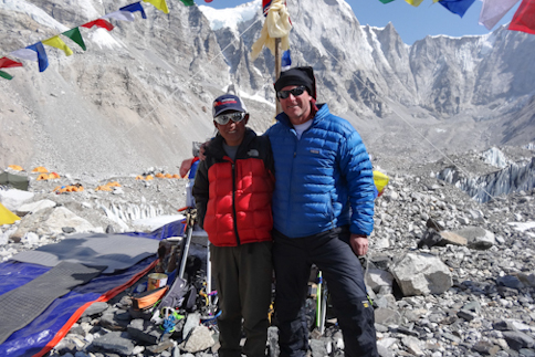 Dave and Mingma Chhring Sherpa at Everest base Camp