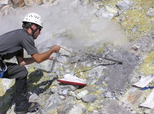 Sampling fumarole gases in Sherman Crater. Photo by Dave Tucker.