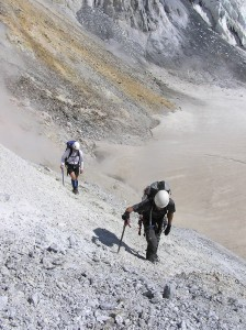 Climbers ascend out of Sherman Crater after collecting fumarole gases. Photo by Dave Tucker
