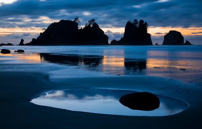 Shi-Shi Beach in evening light. Photo by John D'Onofrio