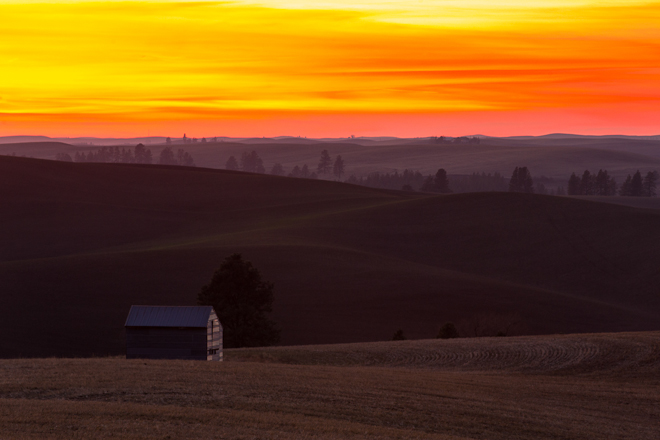 An idyllic landscape of fields and farmhouses awaits cyclists in the Palouse. Photo by Aaron Theisen