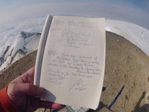 The Summit Log. Photo by Daniel Probst