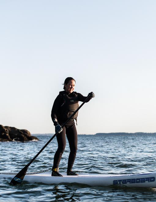 Amy Kashiwa, enjoying upright bliss on the Salish Sea. Photo by Mike Powell