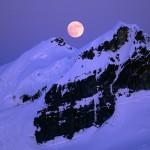 Harvest Moon over Mount Baker's Black Buttes