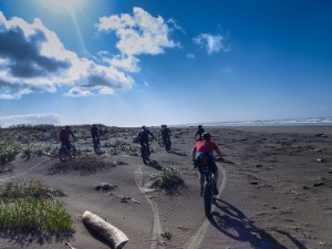 From the mountains to the shore, fat bikes will take you where you want to go.  Ocean Shores, Wash.  (Photo courtesy David Nelson)