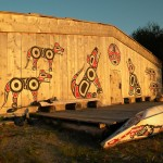 First Nations' longhouse at the mouth of the Koeye River, Fitz Hugh Sound, BC
