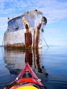 7142One of a dozen rusting World War II ships chained in shallow water north of Powell River, BC
