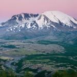 Mount St. Helens after dusk, Mount St. Helens Volcanic National Monument, Washington.