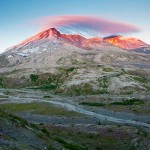 Mount St. Helens at dawn from the Truman-Abraham Saddle, Mount St. Helens National Volcanic Monument, Washington.
