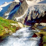Dome Peak above the outlet stream from White Rock Lakes, Glacier Peak Wilderness, North Cascades, Washington, USA.