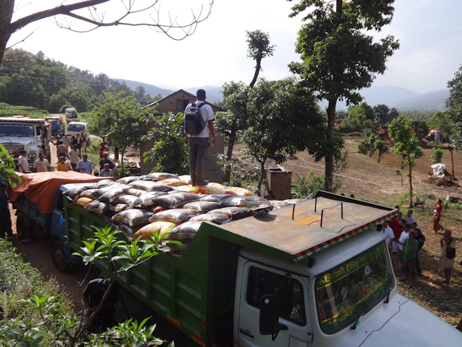 Food supplies transported by truck