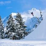 """Zach Davison over """"Home Run Gap"""", Mt Baker Ski Area Backcountry, North Cascades Washington"""