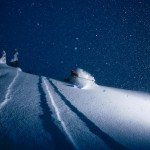 Dean Collins skiing powder durring a storm day at Mt. Baker