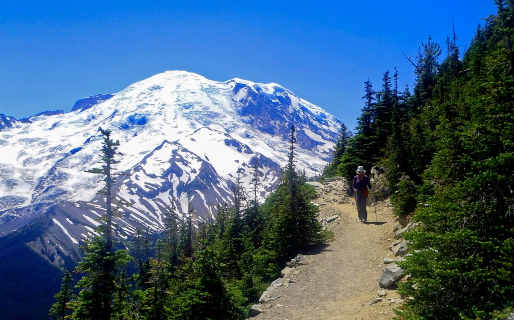 Mount Rainier forms a backdrop for hikers on the Rim Trail near Sunrise. Photo by John Nelson