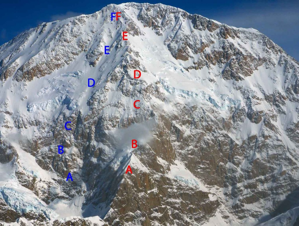 The south face of Denali: Simon's campsites in blue, Bob's in red