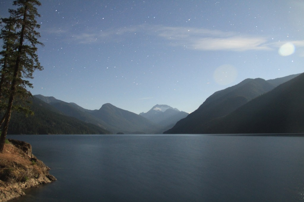 Ross Lake, illuminated by moonlight. Photo by Dallas Betz
