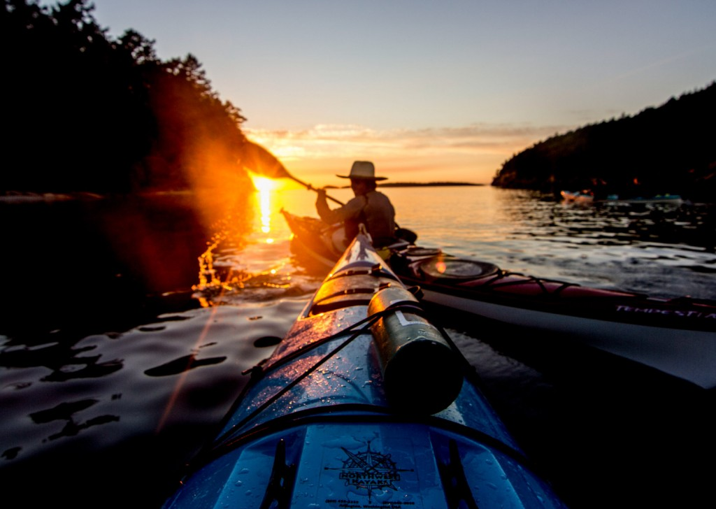 Sunset off of Sucia Island. Photo by Katie Campbell/ Moondance Sea Kayak Adventures