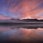 Sunrise over Mount Baker (elevation 10,778feet (3,285m) and Baker Lake, North Cascades.