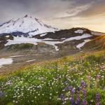 Sunset over Mount Baker, Mount Baker Wilderness. Washington