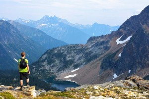 Hiker on Jade Lakes trail in Mount Revelstoke National Park